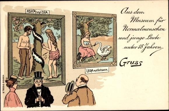 Litho Adam und Eva, Leda mit Schwan, Museum für Normalmenschen, Lex Heinze 1900, Sittlichkeit