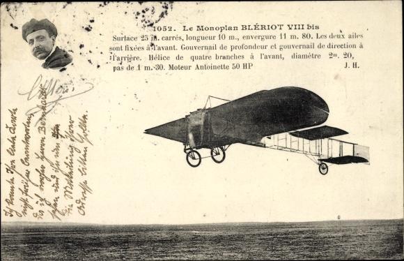 Ak Monoplan Blériot VIII bis, Pilot, Flugpionier