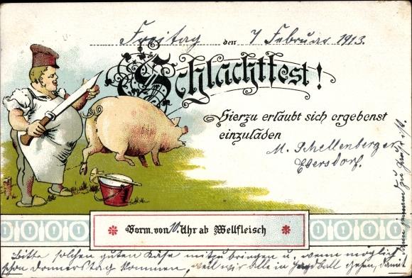 Litho Einladung zum Schlachtfest, Wellfleisch, Schwein, Schlachter mit Messer