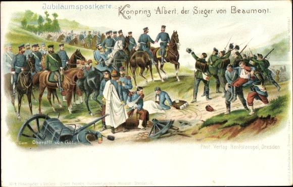 Litho Kronprinz Albert von Sachsen, Sieger von Beaumont, Jubiläum