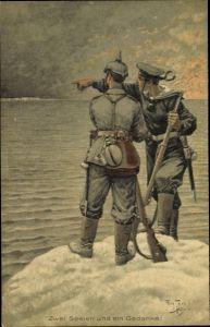 Künstler Ak Thiele, Arthur Zwei Seelen und ein Gedanke, Soldat, Matrose