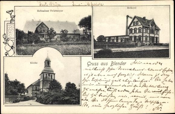 Ak Blender Niedersachsen, Hofbesitzer Twietmeyer, Molkerei, Kirche