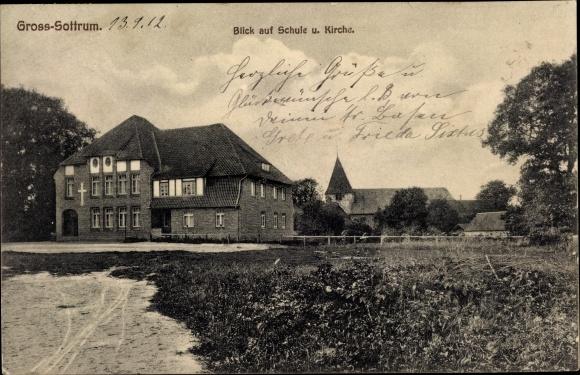 Ak Groß Sottrum in Niedersachsen, Schule und Kirche