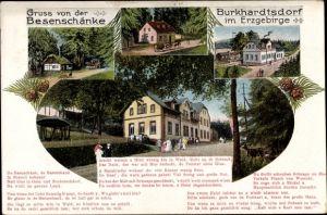 Gedicht Ak Burkhardtsdorf im Erzgebirge, Blick von außen auf die Besenschänke, Hausentwicklung