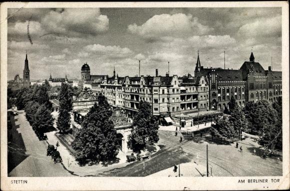 Ak Szczecin Stettin Pommern, Berliner Tor, Straßenpartie