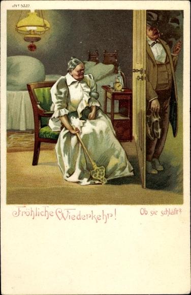 Litho Fröhliche Wiederkehr, Ob sie schläft, Betrunkener Mann kehrt Heim, Frau mit Teppichklopfer