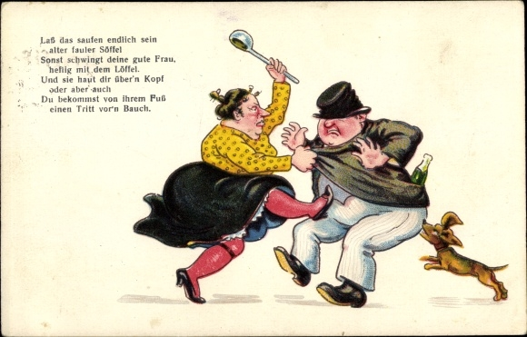 Ak Lass das Saufen endlich sein, Betrunkener Mann kehrt Heim, Frau mit Schöpfkelle, Hund