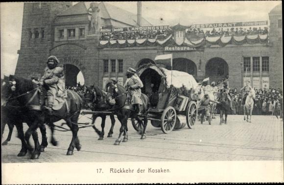 Ak Hamburg, Festzug zur Jahrhundertfeier März 1913, Rückkehr der Kosaken, Landungsbrücke, Restaurant