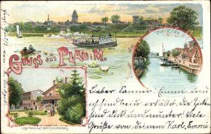 Litho Luftkurort Plau am See, Logierhaus auf dem Klüschenberg, Elde