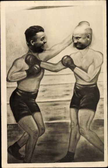Foto Ak Zwei Boxer, Männer, Fotowand mit Loch zum Kopf durchstecken