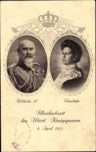 Präge Ak König Wilhelm II. von Württemberg, Charlotte, Silberhochzeit am 08. April 1911
