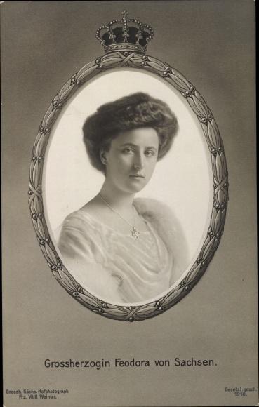 Passepartout Ak Großherzogin Feodora von Sachsen, Portrait