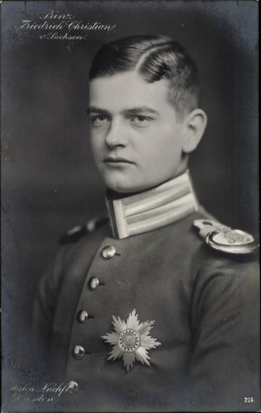 Ak Prinz Friedrich Christian von Sachsen, Portrait in Uniform