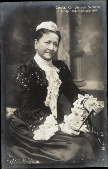 Ak Königin Carola von Sachsen, Portrait, Trauerkarte 1907
