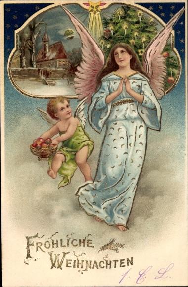 Präge Ak Frohe Weihnachten, Engel, Tanne