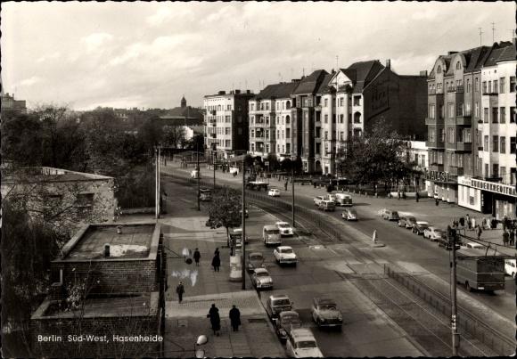 Ak Berlin Neukölln Rixdorf, Hasenheide aus der Vogelschau, Verkehr, Primus Palast