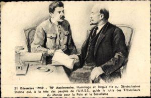 Künstler Ak Joseph Stalin, Wladimir Lenin, 21. Dezember 1949, 70. Jahrestag