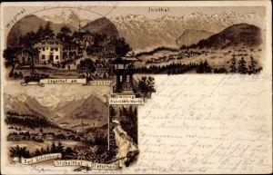 Litho Schönberg im Stubaital in Tirol, Jägerhof am Schönberg, Wipptal, Inntal, Dorf