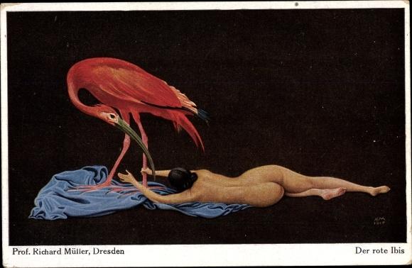 Künstler Ak Müller, Richard, Der rote Ibis, Frauenakt, NPG 252