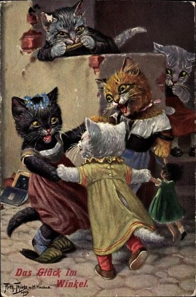 Künstler Ak Thiele, Arthur, Das Glück im Winkel, Vermenschlichte Katzen