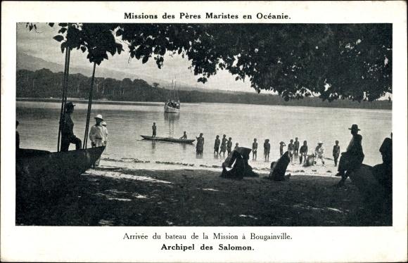 Ak Bougainville Papua Neuguinea, Archipel des Salomon, Arrivée du bateau de la Mission