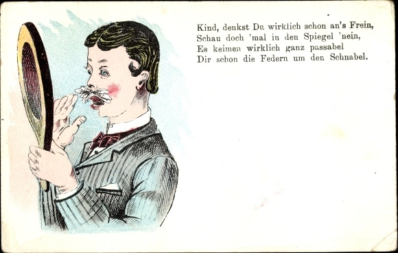 Litho Federn um den Schnabel, Junger Mann, Schnurrbart, Handspiegel