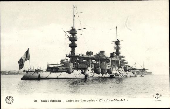 Ak Französisches Kriegsschiff, Cuirassé d'escadre Charles Martel, Marine Nationale