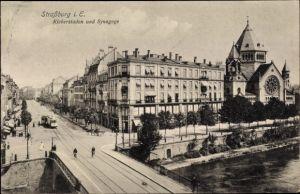 Judaika Ak Strasbourg Straßburg Elsass Bas Rhin, Kleberstaden und Synagoge