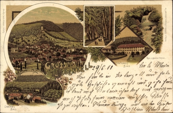Litho Bad Liebenzell im Schwarzwald, Panorama vom Ort, Alle, Kollbachtal, Oberes u. Unteres Bad