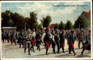 Ak Transport französischer Kriegsgefangener, I. WK