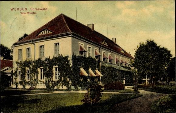Ak Werben Spreewald, Villa Winkler, Gartenpartie