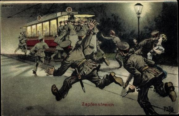 Künstler Ak Thiele, Arthur, Zapfenstreich, Soldaten rennen zur Straßenbahn, Bruno Bürger 8949