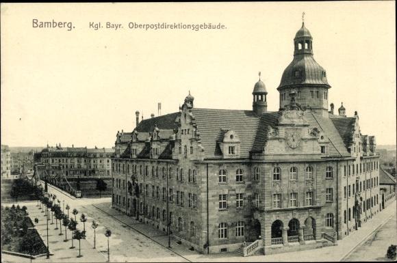Ak Bamberg an der Regnitz Oberfranken, Kgl. bayr. Oberpostdirektionsgebäude