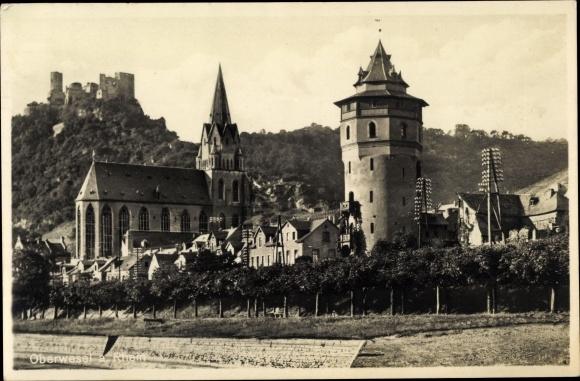 Ak Oberwesel in Rheinland Pfalz, Kirche, Schönburg, Ruine, Teilansicht