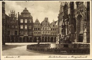 Ak Münster in Westfalen, Lambertusbrunnen und Prinzipalmarkt