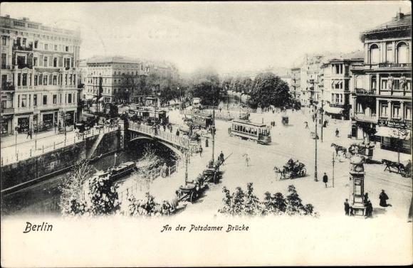 Ak Berlin Tiergarten, An der Potsdamer Brücke, Straßenpartie