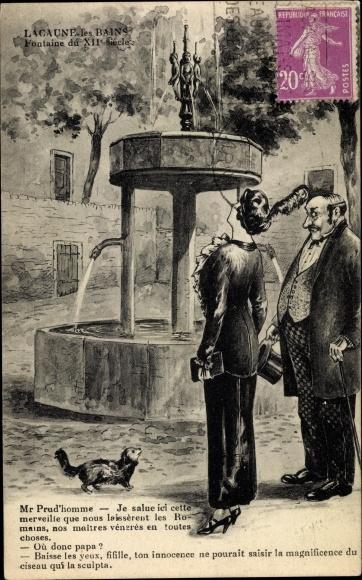 Ak Lacaune les Bains Tarn, Fontaine du XIIe. Siécle, Brunnen