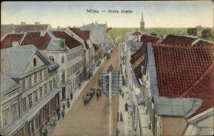 Ak Jelgava Mitau Lettland, Große Straße aus der Vogelschau, Telegrafenmasten, Fuhrwerke