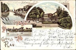 Litho Plau am See, Logirhaus Klüschenberg, Wallpromenade an der Elde