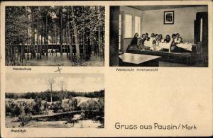 Ak Pausin Schönwalde Glien Havelland, Waldschule, Innenansicht