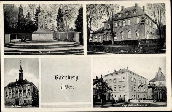 Ak Radeberg Sachsen, Ehrenmal, Gemeindehaus, Rathaus, Export Bier Brauerei