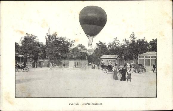 Ak Paris, Porte Maillot, Fesselballon, Platz