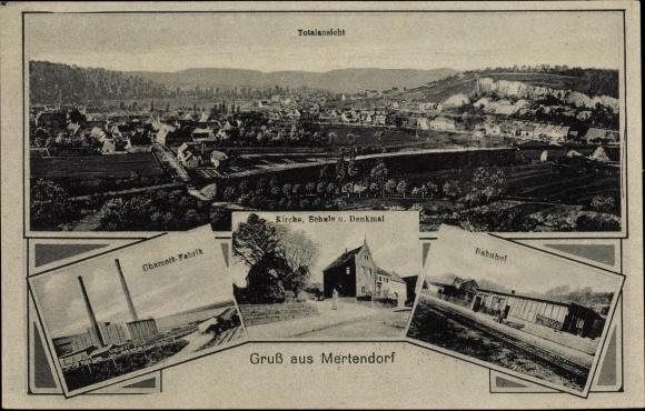 Ak Mertendorf Sachsen Anhalt, Chamottfabrik, Kirche, Bahnhof, Schule, Denkmal