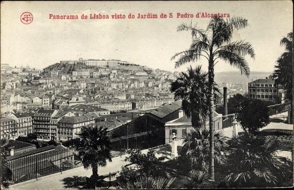 Ak Lisboa Lissabon Portugal, Panorama, Jardim de São Pedro de Alcântara