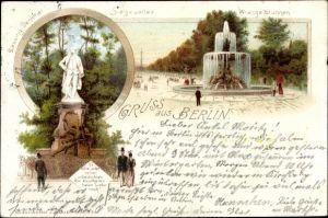 Litho Berlin Tiergarten, Wrangelbrunnen, Denkmal, Siegesallee