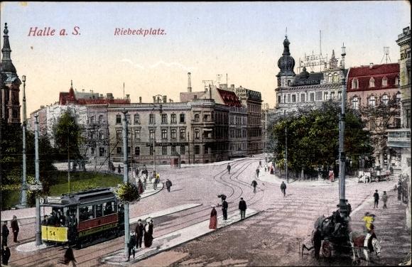 Ak Halle an der Saale, Partie am Riebeckplatz, Straßenbahn Linie 2 Stadtbahn