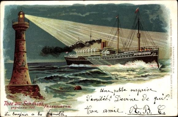 Litho Leuchtturm leuchtet einem Dampfschiff bei Nacht, Tee Heinr. Wilh. Schmidt Frankfurt Main