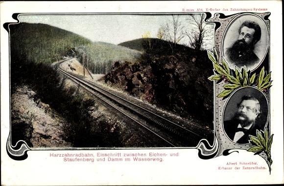 Ak Harz Zahnradbahn, Einschnitt zwischen Eichen- und Staufenberg, Albert Schneider Roman Abt