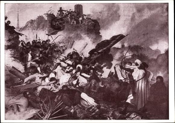 Künstler Ak Ruß, Belagerung von Wien, Türken, Gefecht, Schlacht