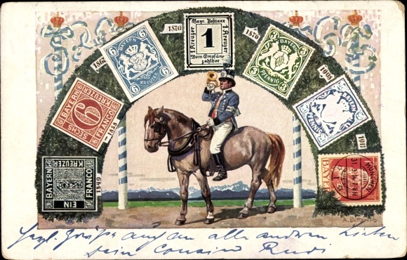 Ganzsachen Briefmarken Ak König Ludwig III. von Bayern, Postillon